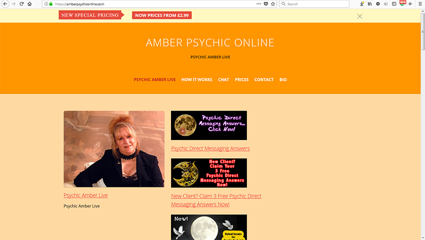 Amber Psychic Online - A website created and built by Wheels4WebSites converting cold website visitors into paid customers