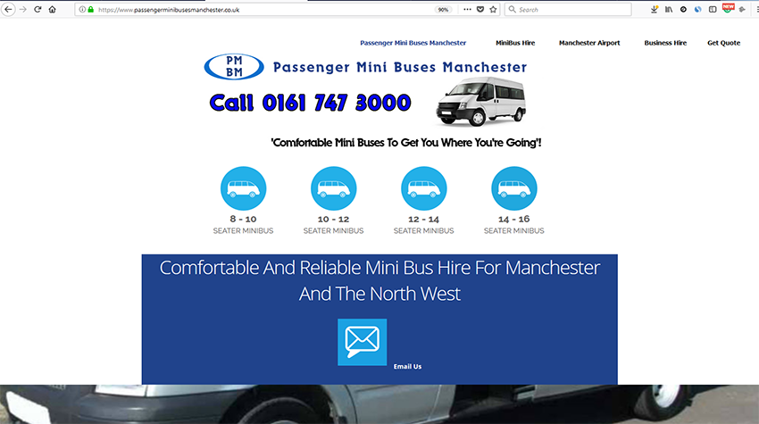 A website built by Wheels4WebSites.co.uk for a local minibus business.