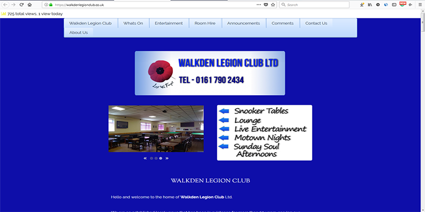 Walkden Legion Club. Website built by Wheels4WebSites for a local social club. The site attracts new customers to nightly events and gets bookings for room hire for parties and functions