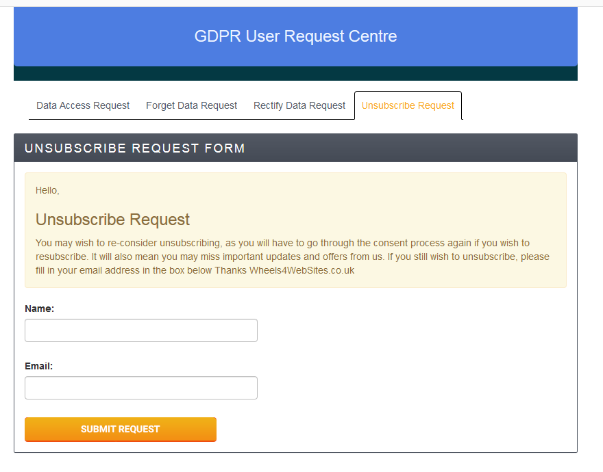 User Management - Unsubscribe Option For Users GDPR