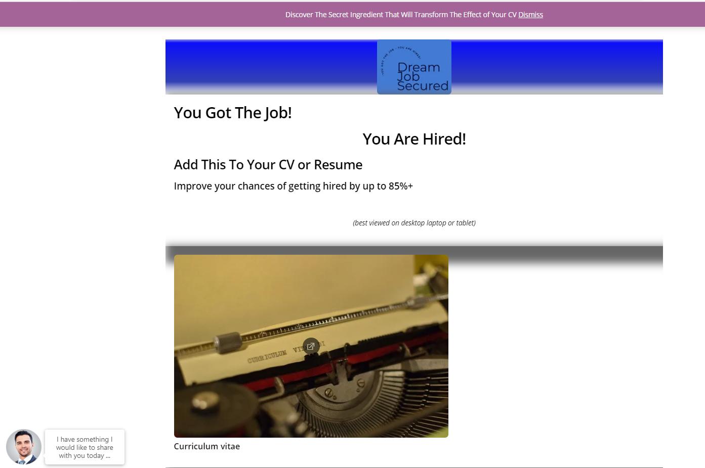 Dream Job Secured